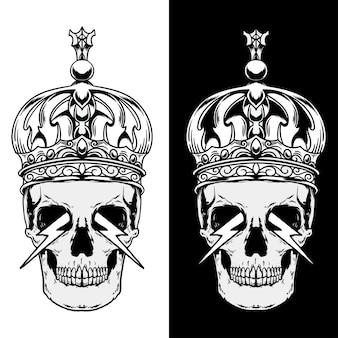 Cranio con illustrazione della corona in bianco e nero