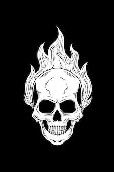 Teschio con illustrazione vettoriale di fuoco