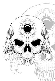 Teschio con illustrazione vettoriale di fiori e occhi