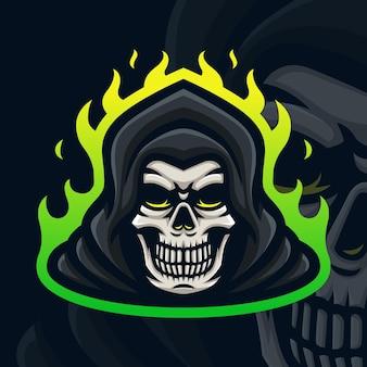 Teschio con logo mascotte fiamma verde per giochi twitch streamer giochi esports youtube facebook