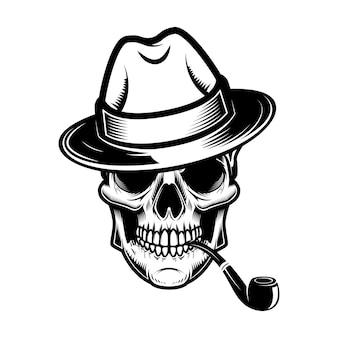 Cranio con cappello e illustrazione del tubo di fumo