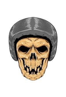 Teschio con illustrazione vettoriale di casco