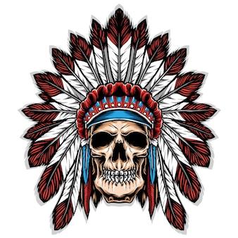 Cranio con illustrazione di copricapo indiano