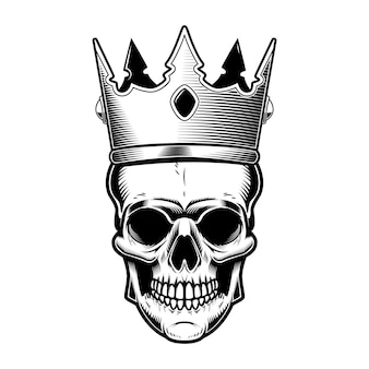 Teschio con corona di re.