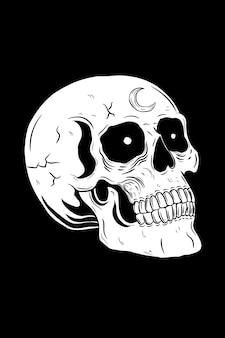 Teschio con illustrazione vettoriale di luna