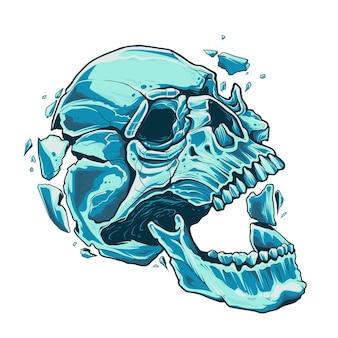 Il teschio con la falena aperta esplode dall'interno. teschio blu incrinato