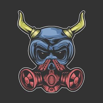 Teschio con particolare maschera respiratoria e corno
