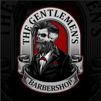 Cranio con badge da barbiere retrò e strumenti da barbiere adatti per il logo di acconciatura da barbiere