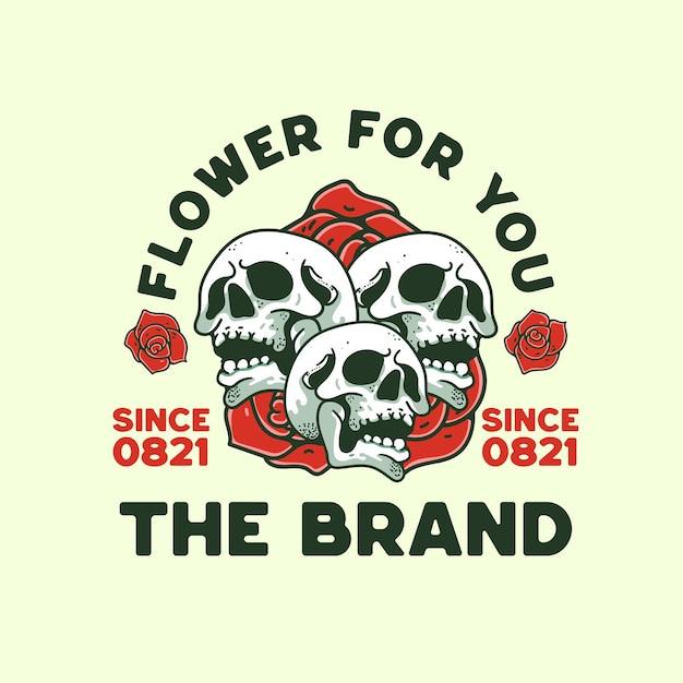 Skull with rose flower illustrazione vintage design retrò per t-shirt