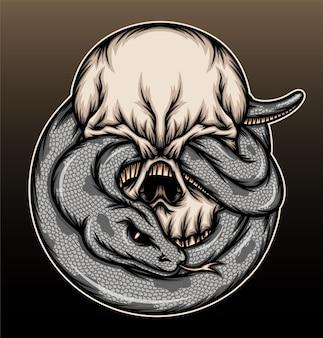Cranio con illustrazione di serpente.