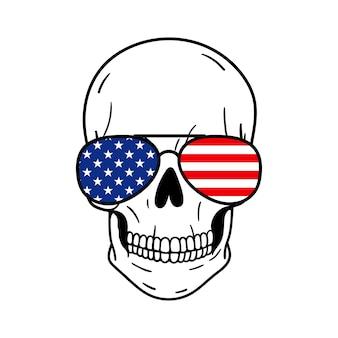Teschio con occhiali da sole bandiera americana stampa illustrazione vettoriale isolato su sfondo bianco
