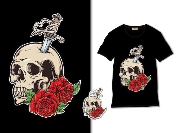 Cranio con illustrazione di spada e rose