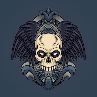 Cranio con illustrazione di ali