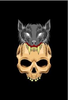 Teschio con illustrazione vettoriale di lupo