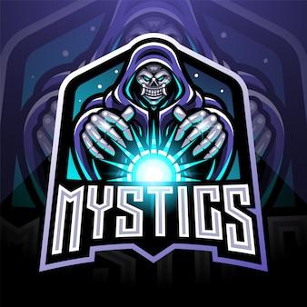 Logo della mascotte di gioco del mago del cranio esportatore che tiene una palla magica