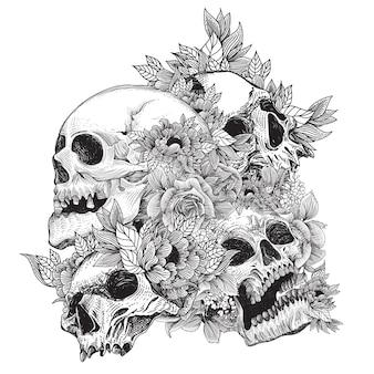 Teschi con ornamento di flora e concetto di incisione