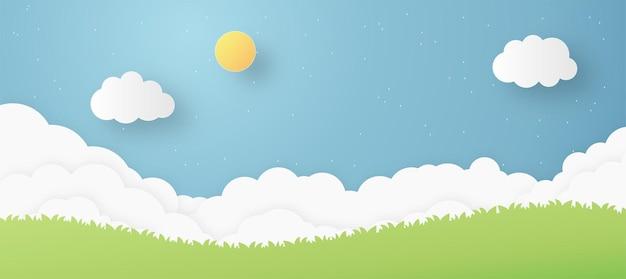 Taglio della carta artistica del cielo con la luna e l'asterisco con la pioggia con l'erba sul bordo inferiore illustrazione vettoriale di stile artistico del mestiere di carta creativa
