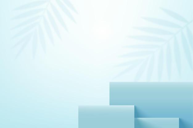 Piattaforma del palcoscenico per l'esposizione del prodotto blu cielo con ombre di foglie