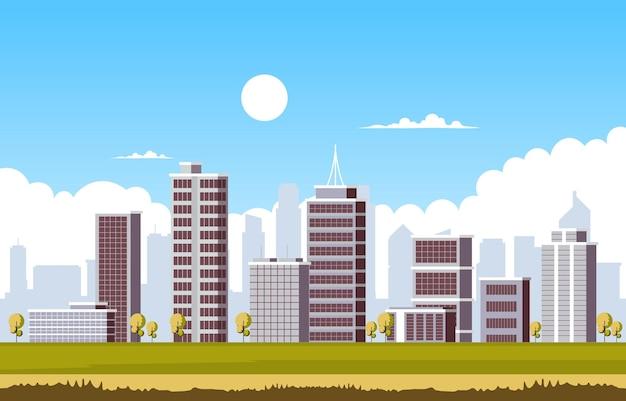 Illustrazione di affari dell'orizzonte di paesaggio urbano della costruzione di edifici della città del cielo