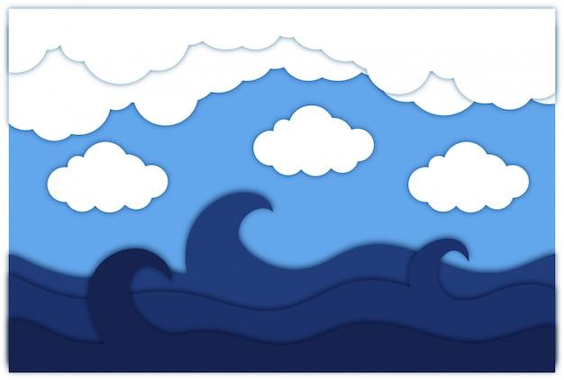 Priorità bassa del papercut della nuvola del cielo con il mare