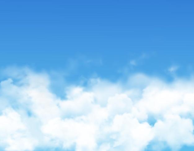 Nuvole del cielo o nebbia del cielo blu con nebbia bianca realistica, vapore Vettore Premium