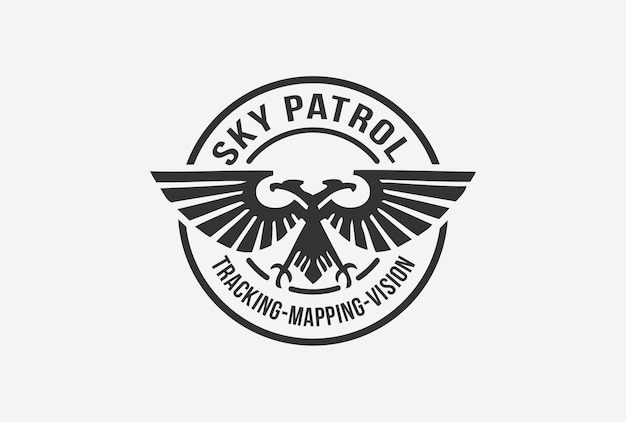 Disegno del logo dell'emblema della pattuglia del cielo con elemento aquila.