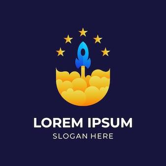 Logo del razzo del cielo, razzo e stella, logo combinato con stile di colore giallo e blu