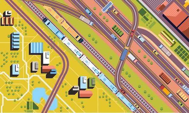 Vista del cielo del traffico automobilistico su strade o autostrade e treni