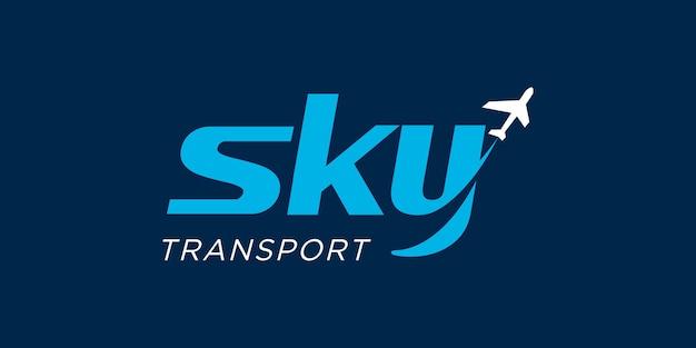 Cielo con modello di vettore logo aereo e compagnia aerea. adatto per etichette di viaggio, turismo, poster di viaggio