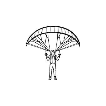 Paracadutista che vola con l'icona di doodle di contorno disegnato a mano paracadute