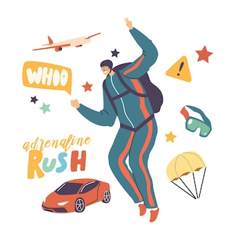 Personaggio maschile paracadutista che salta con il paracadute in volo nel cielo