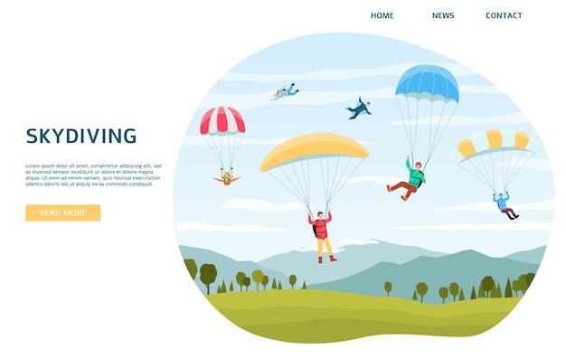 Modello di banner web orizzontale di paracadutismo con sportivi estremi che saltano con paracadute o paraplanners