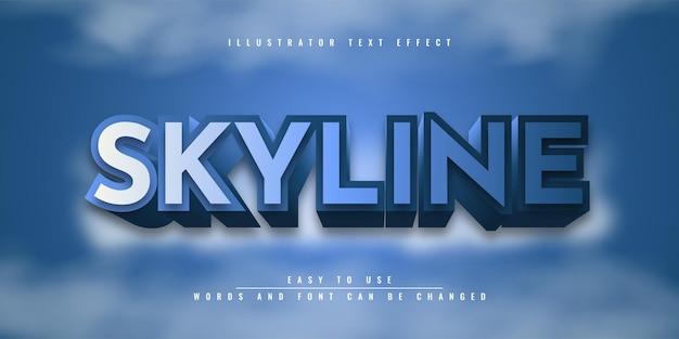 Disegno del modello di effetto di testo modificabile di skyline illustrator