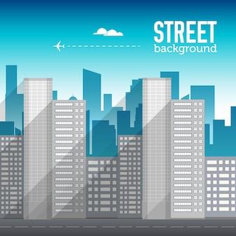 Edificio del grattacielo nello spazio della città con la strada sul concetto di sfondo stile piatto