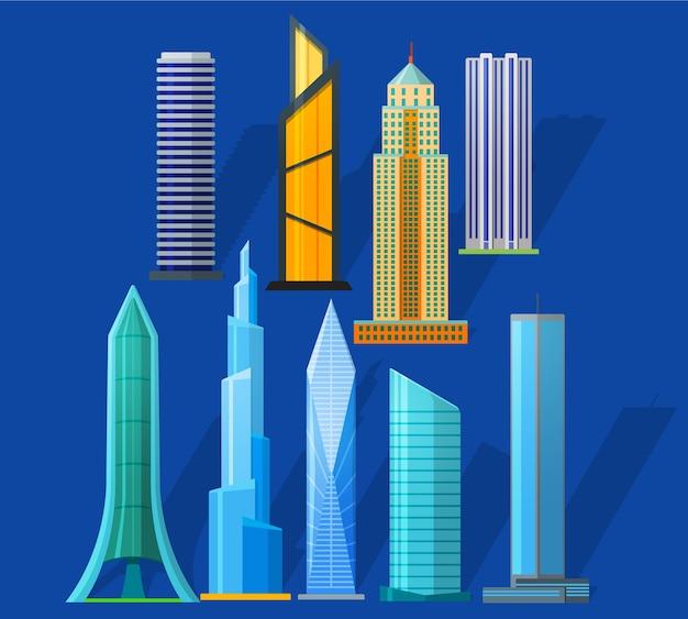 Icone dei grattacieli impostate in stile piatto dettagliato. grattacieli moderni e antichi. per la costruzione di città.