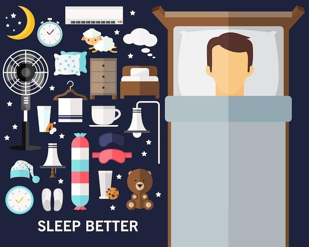 Dormi meglio sullo sfondo del concetto. icone piatte.