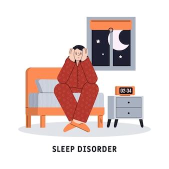 Concetto di disturbo del sonno con illustrazione di vettore del fumetto dell'uomo insonne isolato.