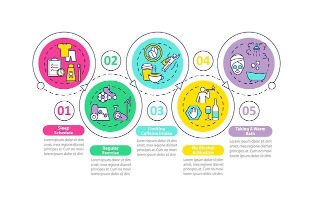 Modello di infografica miglioramento del sonno. elementi di presentazione di suggerimenti per sogni migliori. Vettore Premium