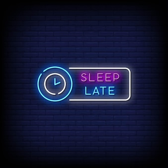Dormire fino a tardi insegne al neon in stile testo