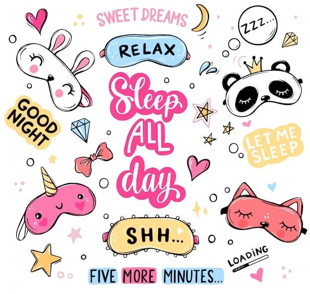 Maschere per dormire e citazioni insieme vettoriale. lettering frasi buona notte, sogni d'oro, dormire tutto il giorno isolato.