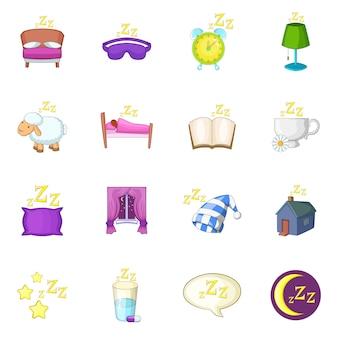 Icone di simboli di sonno impostate Vettore Premium