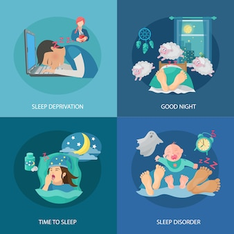 Il concetto di progetto di tempo di sonno ha messo con le icone piane di disordine e di privazione isolate