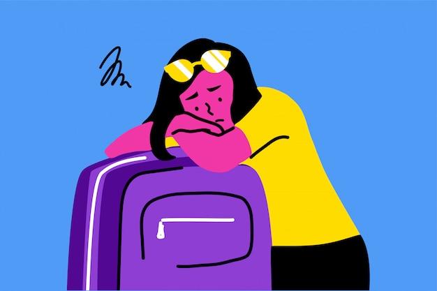 Sonno, turismo, viaggi, depressione, stress mentale, frustrazione, concetto di affaticamento
