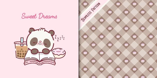 Cartone animato orso panda bambino addormentato premium vector