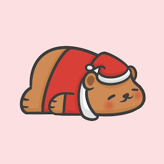Stile disegnato a mano del fumetto di natale del maglione del costume dell'orso di sonno