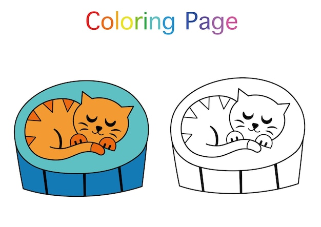 Illustrazione vettoriale di gatto addormentato per attività di pagina da colorare libro da colorare