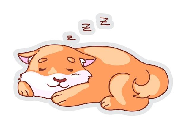 Illustrazione di corgi addormentato