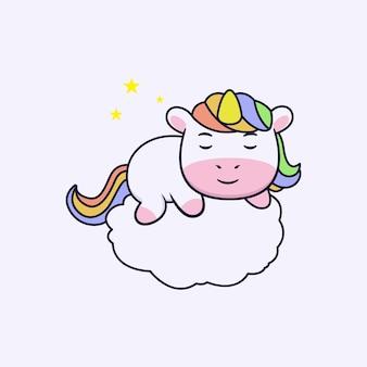 Design del personaggio di unicorno carino addormentato