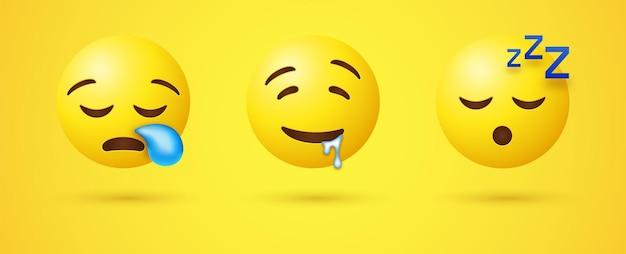 Faccia addormentata emoji con russare zzz e snot bubble o emoticon sbavando 3d Vettore Premium