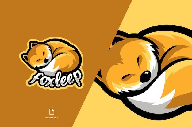 Logo della mascotte della volpe addormentata